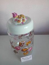 Barattolino porta caramelle, biscotti,zucchero decorato con fimo