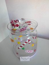 Caramelliera in vetro decorata con dolcetti in fimo
