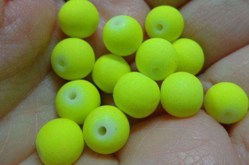 40 Perline Vetro color FLUO GIALLO