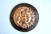 Piatto decorativo artigianale in rame - Sole e luna-