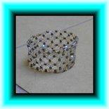 Braccialetto elastico perline e rocailles - Argento opaco