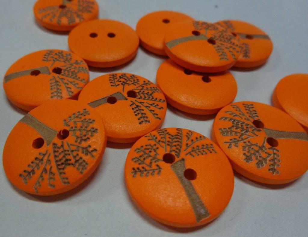 6 Bottoni in legno colore ARANCIONE