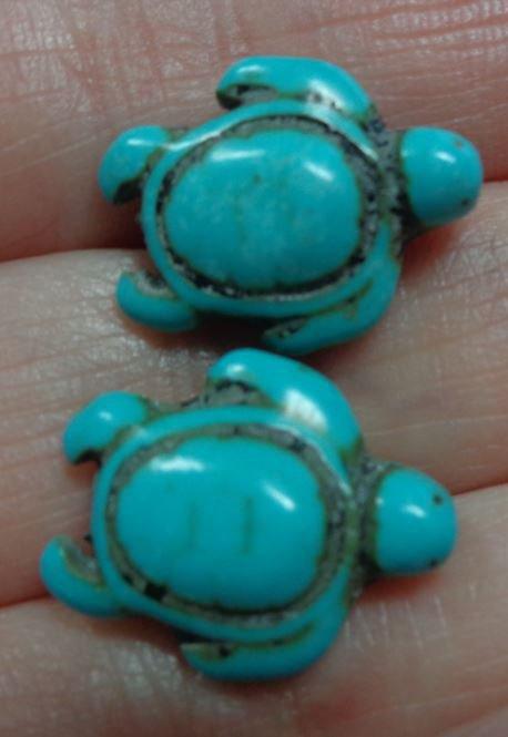 10 Perline Tartarughe colore TURCHESE