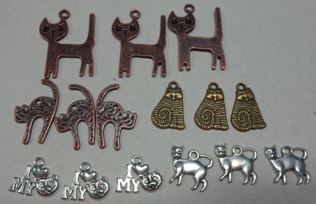 15 Ciondoli in Argento Tibetano MIX DI GATTI