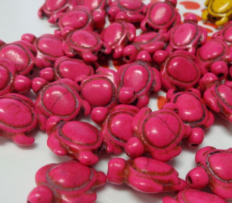 10 Perline Tartarughe colore FUCSIA