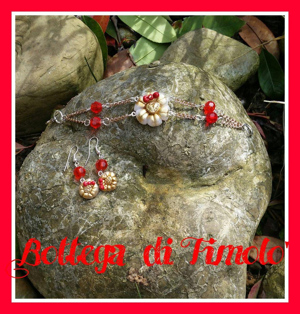 bracciale fiore e orecchini fiore