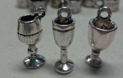 15 Ciondoli Bicchiere con Drink in Argento Tibetano