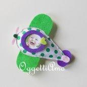 Aeroplanini verdi, rosa e lilla per delle calamite che accolgano la foto della vostra bambina in occasione dell sua festa!