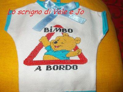maglietta auto ricamata a punto croce bimbo a bordo idea regalo winnie the pooh
