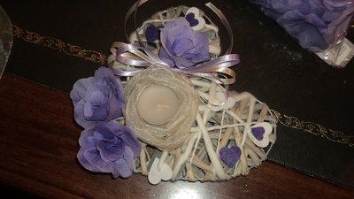 centrotavola artigianale personalizzabile matrimoni rose lilla