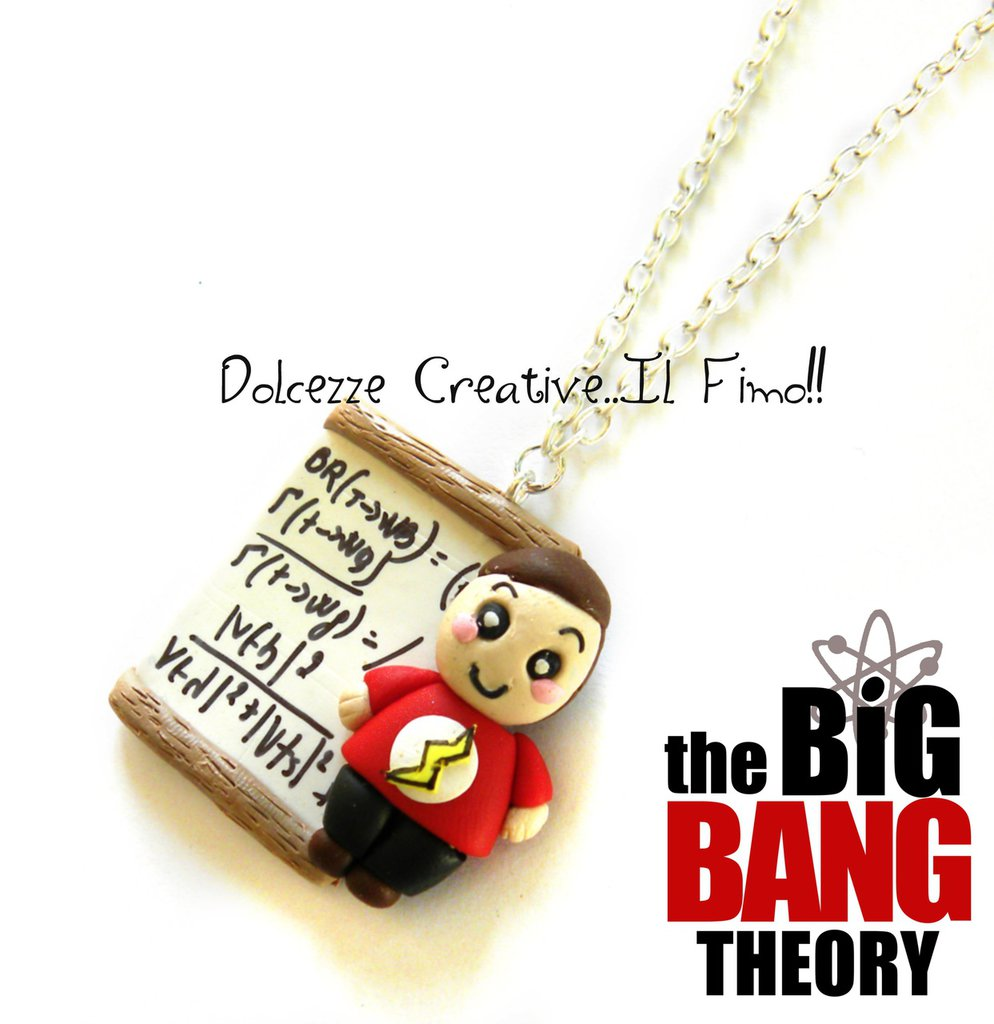 Collana Lavagna Sheldon Cooper Big Bang Theory Flash Cartoon Bazinga idea regalo