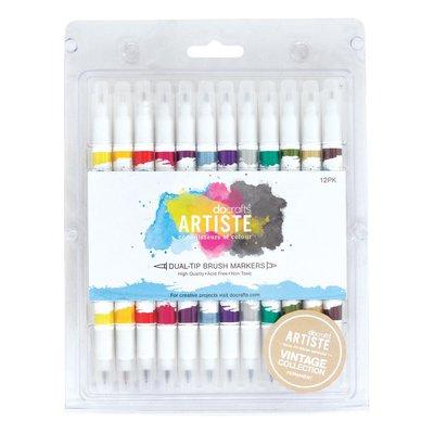 Dual Tip Brush Markers - Vintage