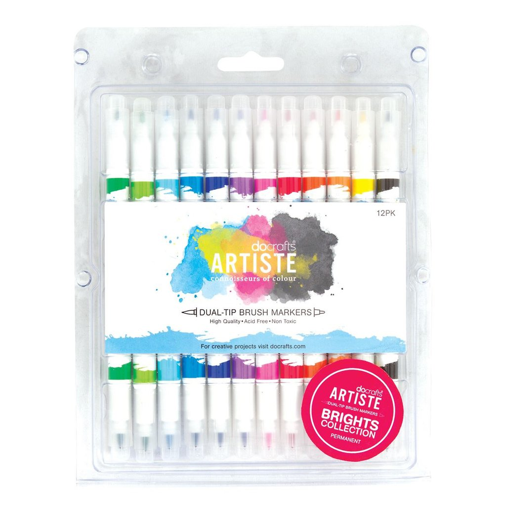 Dual Tip Brush Markers - Bright