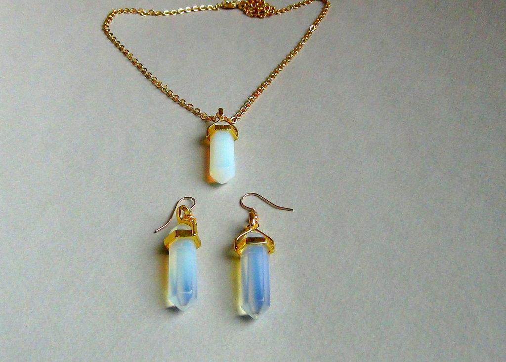 Ciondolo OPAL  & Orecchini - SET 2 - Cristallo QUARZO Pietre naturali Ottimo Prezzo Gold 14k