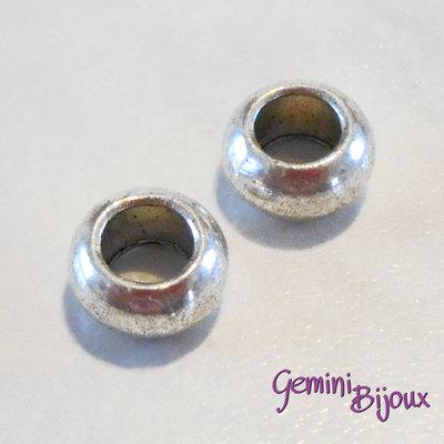 Perla tibetana in alluminio argentata a foro largo, mm 10x5. LH21