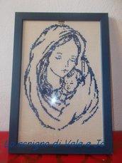 quadro madonna con bambino a punto croce ricamato a mano con cornice idea regalo
