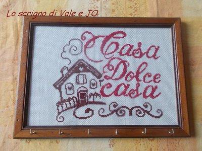 quadro portachiavi casa dolce casa decorata a mano punto croce idea regalo casa nuova