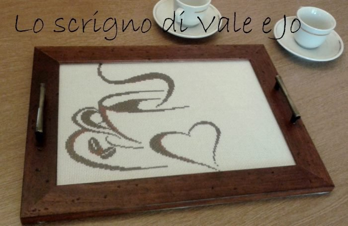 vassoio in legno con ricamo a mano a punto croce con maniglie pausa caffè idea regalo