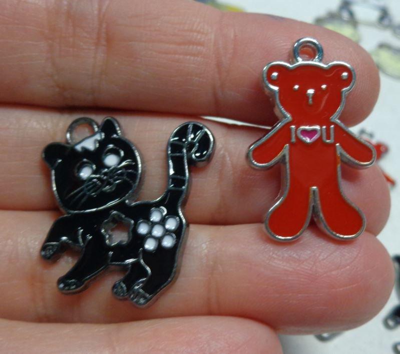 7 Ciondoli TEDDY BEAR e GATTO in Metallo Smaltato