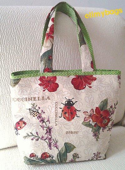 Borsa donna rosso coccinella e verde primavera handmade♥