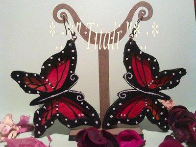 """Orecchini farfalle """"monarca"""" in legno"""