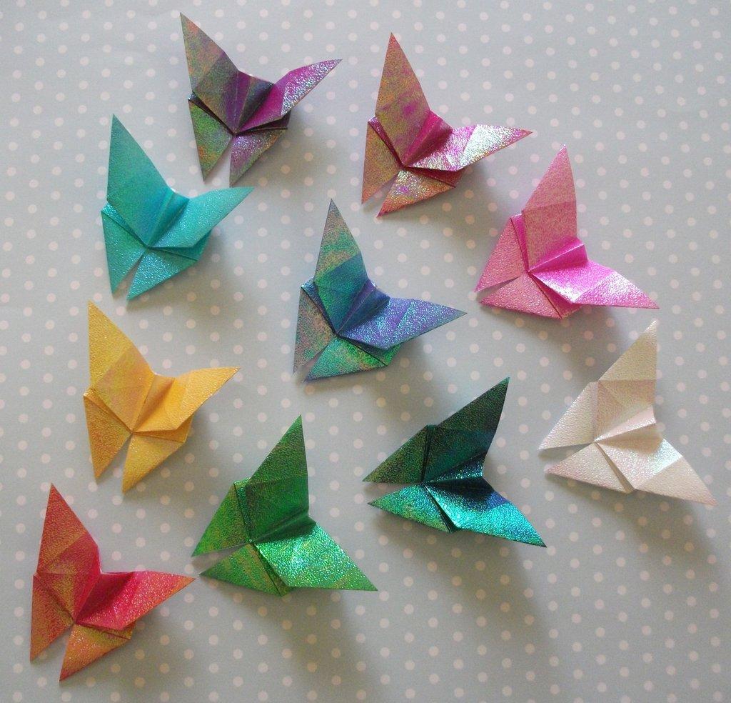 *Farfalle 3D Iridescenti Origami* - Decorazioni per Pareti - Lotto (10pz) - Serie WallDeco^^
