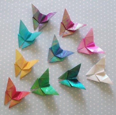 Farfalle 3d iridescenti origami decorazioni per pareti lotto su misshobby - Farfalle decorative per pareti ...