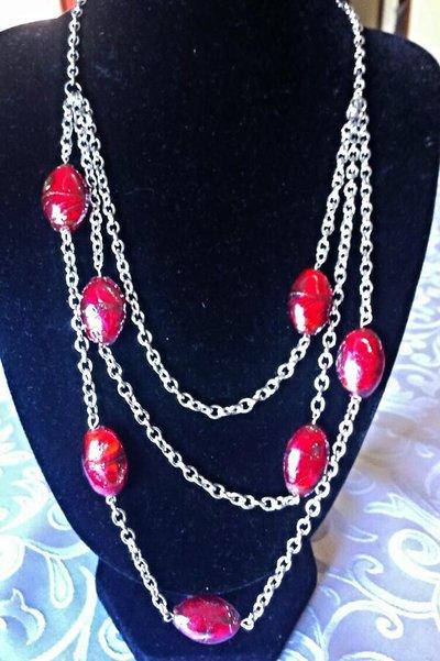 collana in catena argento e perline murano con sabbia d'oro fatta a mano