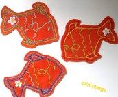 Pesci in pannolenci arancione ricamati handmade♡