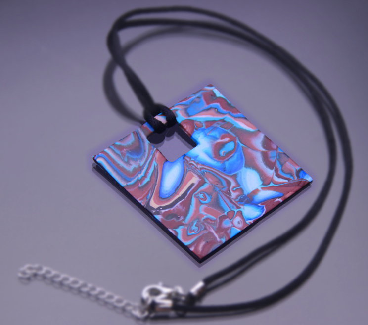 Necklace with Square Pendant in turquoise and brown color