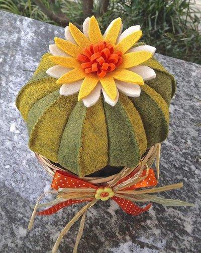 Cactus in feltro cuscino della suocera con fiore bianco e for Casa suocera in vendita