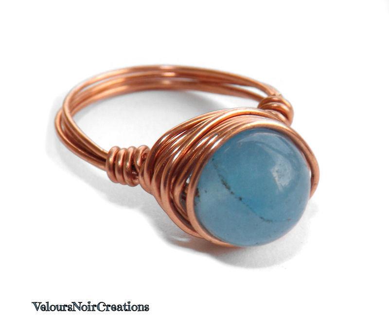Anello rame e pietra naturale agata azzurra creato a mano