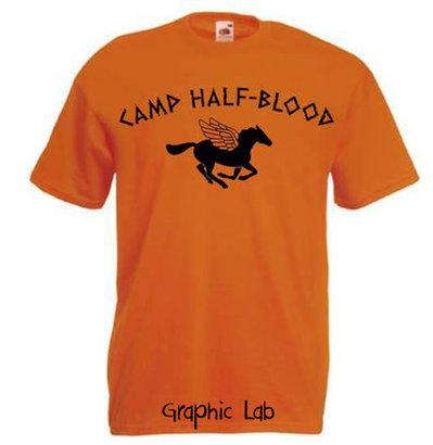 Maglietta T-Shirt Camp Half-Blood Campo Mezzosangue Arancione Percy Jackson