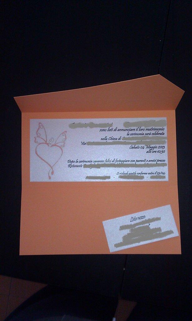 Inviti partecipazioni nozze arancio e perla