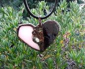 CUORE Spezzato Amore Vetro Rosa Zircone Opal Nero Bronzo Ideale Come Regalo Amore Innamorati