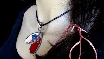 CUORE Spezzato Capovolto AMORE Vetro OPAL Rosa Rosso Druzy Bronzo Ideale Come Regalo Amore Innamorati