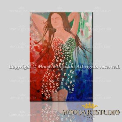 Quadro figurativo di un ritratto femminile in rilievo dipinto a mano