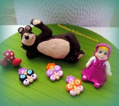Masha e Orso,topper cake in fimo