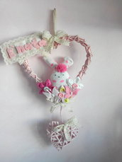 Fiocco di nascita o coccarda ricordo rosa  a cuore con coniglietto