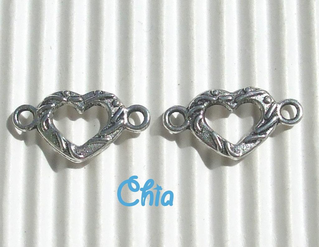 10 connettori /link cuore 15x9mm