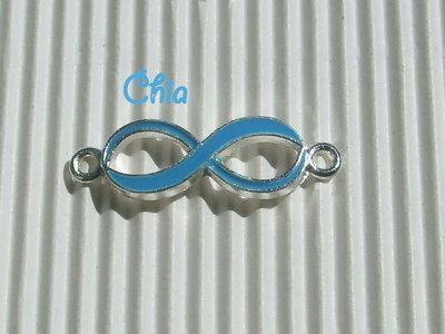 1 connettore/link infinito smalto azzurro