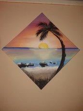 dipinto su tela paesaggio tramonto
