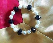 bracciale lavorato a mano con cristalli rondelle e perle