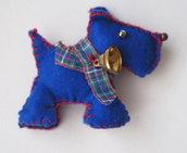 Cane Inglese tridimensionale con campanella e collare scozzese