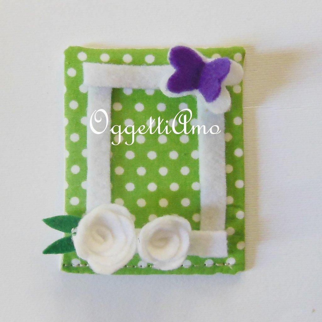 Cornicine in feltro e cotone per bomboniere calamitate: bomboniere glicine e verdi per idee regalo fresche e colorate!