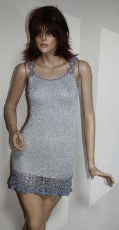 abito stretch artigianale ferri uncinetto argento simil lurex xs s 38 40 42