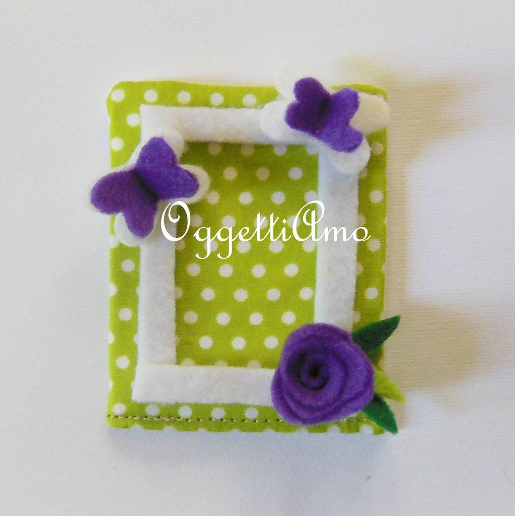 Calamite porta foto per bomboniere originali e colorate: verde, lilla, glicine a pois, quadretti o fiori!