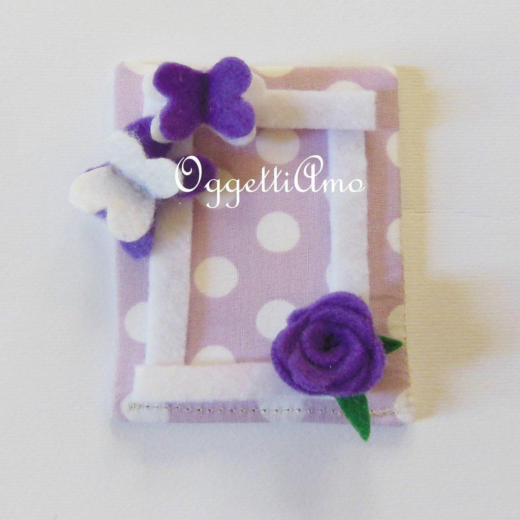 Cornici portafoto in pannolenci e cotone: un'idea regalo originale per le bomboniere calamita della vostra bambina!