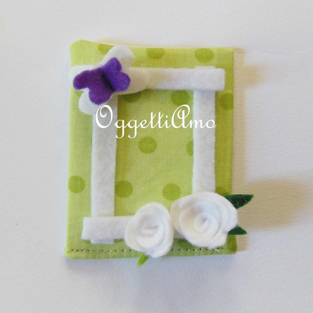 Graziose cornicine in feltro e cotone per le bomboniere a fiori, pois e quadretti per la vostra bambina!