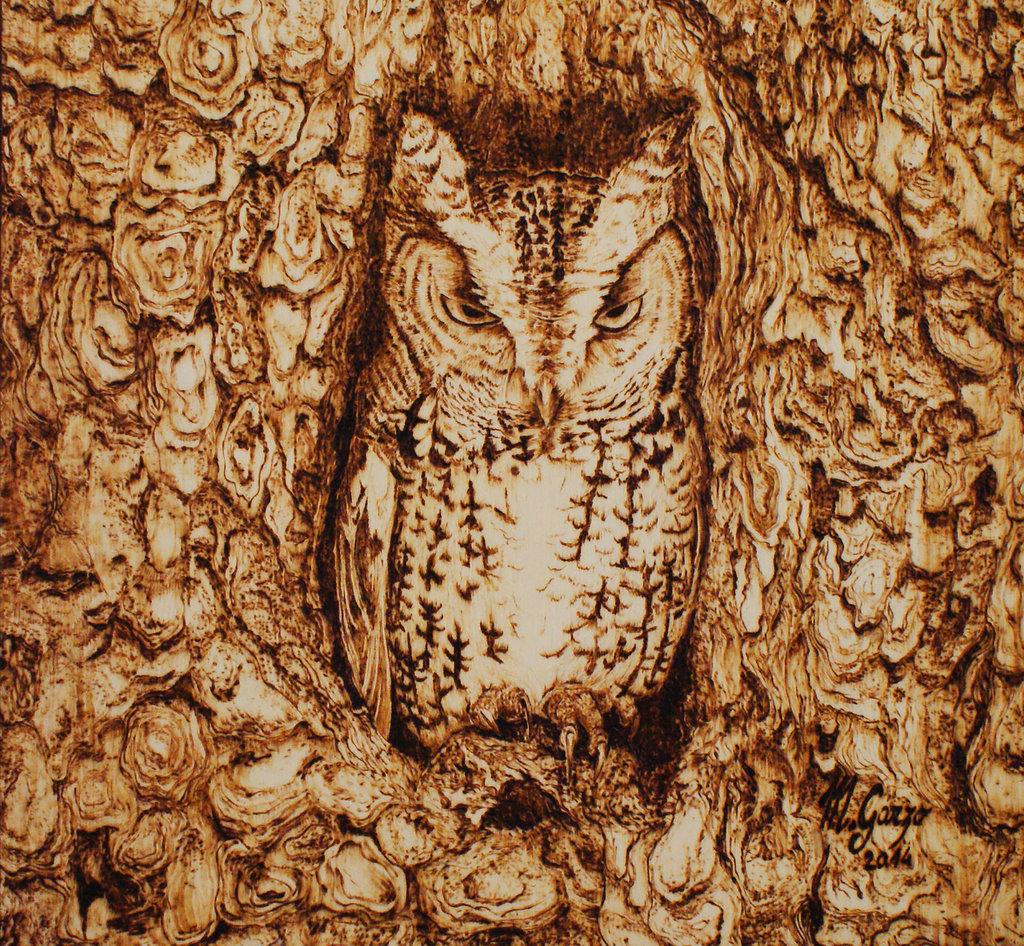 MIMETISMO - ASSIOLO pirografia su legno cm 25x27